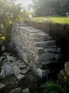 gonna need to do this in my new ba. gonna need to do this in my new backyard dry stone retaining wall. gonna need to do this in my new backyard - Landscaping Retaining Walls, Hillside Landscaping, Dry Stone, Brick And Stone, Stone Walls, Stone Retaining Wall, Stone Masonry, Stone Walkways, Sloped Garden