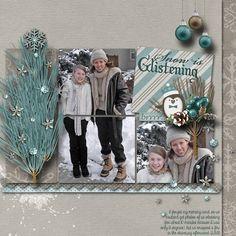 1/8/14 Gotta Pixel Digital Scrapbook LOTD: Today's Layout of the Day is Snow is Glistening by bekfek. www.gottapixel.net/