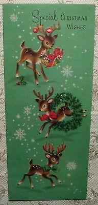 Little Reindeer, Snowflakes - 1950's Vintage Christmas Greeting Card
