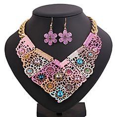 collar de la aleación de impresión color de la flor de la moda (incluye collar&pendientes) de la joyería de (rosa, azul)