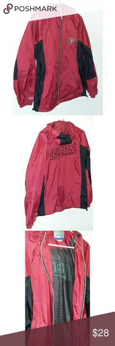 San Francisco 49ers Jacket San Francisco 49ers Jacket in excellant condition. Perfect windbreaker type material. Has attached good that tightens for extra protection.   Men's jackets,  Men's clothes,  nfl clothes Reebok Jackets & Coats Windbreakers
