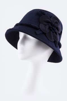 """Daisy Buchanan Hat - Look chic this fall with this 1920's Coco Hat that was popular with women during this era. With a nice 10 inch brim and stylish same color fabric flower and twisted braid accent on the side, you'll be dancing the foxtrot this Halloween!. Wear this hat again for a business luncheon in the fall or make it casual with jeans, a slinky tee and sneakers for game day. Available in Black, Navy or Coffee. 100% Polyester. Dimensions: 10"""" x 10"""" x 4.5"""""""