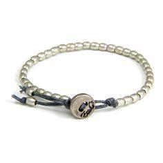Ettika :Tiny Barrel Bead Bracelet on Grey Waxed Linen