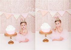 Ella's Cake Smash! 1st Birthday Portrait Session - Newport Beach Baby Photographer, CA, Cali, California, Pink Glitter, Light Pink, Pale Pink, Pastel Pink, Cake Stand, Golden Crown, First Birthday, Gold and Pink Necklace, Pink Tutu, Pink and White Cupcake Cake, Giant Cupcake, Girly, Princess, Baby Girl, Cute, Adorable, Precious, Messy, Smiley, Laughter, Darling, Licking Lips, Yum, Pink Banner, Barefoot  GilmoreStudios.com: