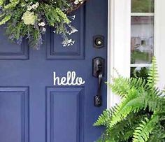 the color of this front door for our house. Hello Front Door Decal Modern Masters Express Yourself 1 qt. Satin Spontaneous Front Door - The Home Depot 50 hottest farmhouse decor ideas for house 30 Front Door Colors, Front Door Decor, Front Porch, Front Deck, The Doors, Front Doors, Front Hallway, Front Entry, Books And Tea