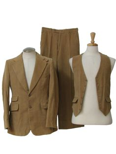 70s -Made in Romania- Mens three piece disco suit with tan cotton pinwale corduroy jacket with wide notched lapels, two buttons, flapped inset pockets, very fitted silhouette, high side vents, and full taffeta lining, matching vest with full satin back and waist adjustment belt and buckle, and plain front pants with flared legs, 24inch bellbottoms, and plain hems, nice example of high style disco suit with bellbottoms in a casual fabric