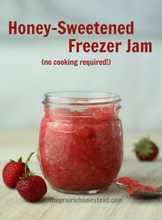 Honey-sweetened freezer jam recipe-- I love that you don't have to use tons of white sugar to make this!