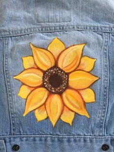 18 Months, Painted Denim, Children's Place Denim Jacket, Sunflower Jacket, Hand … Painted Shorts, Painted Denim Jacket, Painted Jeans, Painted Clothes, Hand Painted, Diy Clothes Paint, Denim Paint, Diy Clothing, Custom Clothes