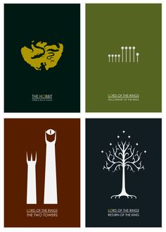 minimalist movie posters for The Hobbit and The Lord of the Rings.  Created by jamesy design.