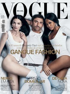 Riccardo Tisci is joined by model muses Naomi Campbell and Mariacarla Boscono on the cover of Vogue Brazil's October 2015 issue!  The trio are photographed by Luigi & Iango, styled by Katy England, to celebrate Tisci's 10 years at the helm of Givenchy.