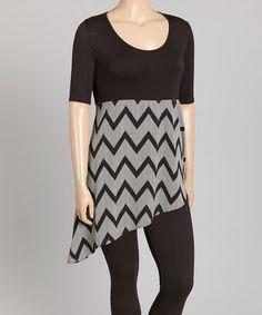 Love this Black & White Chevron Asymmetrical Tunic - Plus on #zulily! #zulilyfinds