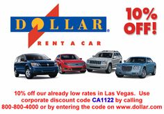 Get 10% Off already low Las Vegas rental Car rates at Dollar Rent a Car