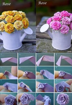 Pin by dicle sumer on origami sanatı paper flowers, origami, diy home craft Diy Crafts For Home Decor, Diy And Crafts Sewing, Crafts For Teens, Easy Crafts, Tutorial Rosa, Rose Tutorial, Photo Tutorial, Origami Diy, Origami Rose