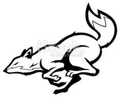 Running fox mascot B&W Royalty Free Stock Vector Art Illustration