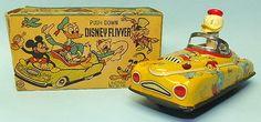Vintage Linemar Donald Duck Disney Flivver Car Tin Wind Up Toy Box   eBay
