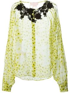 embroidered neck printed blouse