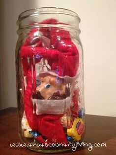 elf in a jar with candy. Christmas Toys, All Things Christmas, Christmas Holidays, Christmas Decorations, The Elf, Elf On The Shelf, Elf Ideas Easy, Toy Advent Calendar, Indoor Snowballs
