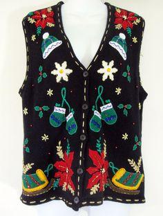Ugly Christmas Sweater Vest Medium Black Bobbie Brooks Gold Bead Sequins Holiday #BobbieBrooks