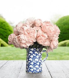 blue and white & pink peonies