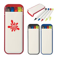 Our writing set includes a mechanical pencil, highlighter and two pens. It comes in a case that can be customized for your school or business. The white case gives a great back ground for your logo to pop!