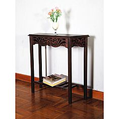 @Overstock.com - Solid Mahogany Wood Entry Wall Console Sofa Table - This wood console sofa table is an elegant addition to any entryway or hallway. The mahogany table features a carved design top, and a bottom shelf for extra storage. This functional table will turn any area into a sophisticated space.  http://www.overstock.com/Home-Garden/Solid-Mahogany-Wood-Entry-Wall-Console-Sofa-Table/6611188/product.html?CID=214117 $153.99