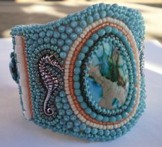 Bounty   Bead embroidered cuff  OOAK by Vicus on Etsy, $110.00