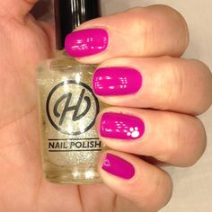 pink nails with hand painted paw print