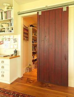Red Barn Door Design Ideas, Pictures, Remodel and Decor Sliding Wood Doors, Sliding Barn Door Hardware, Barn Door Pantry, Barn Kitchen, Kitchen Ideas, Pantry Ideas, Kitchen Photos, Vault Doors, Barn Door Designs