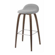 Gubi 3D Barstool - Wood Base - HiRek Seat, Front Upholstered
