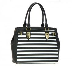 Faux Leather Striped Shoulder Hand Bag 51-Black