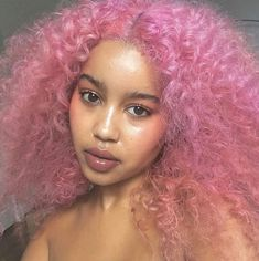 Dyed Curly Hair, Dyed Natural Hair, Dye My Hair, Curly Hair Styles, Natural Hair Styles, Curly Afro, Pink Ombre Hair, Black Girl Pink Hair, Pink Hair Colors