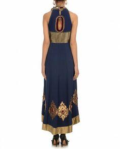 SANCHIT MEHRA Navy Blue Anarkali Suit - Back