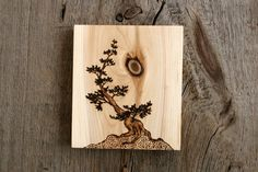 Ancient Tree II - Art Block - Woodburning via Etsy