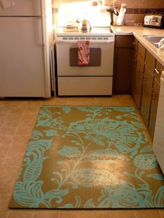 "love the diy chef's mat using cheap, foam tiles & paint. i need a ""rug"" in front of my sink. soooo many dishes."