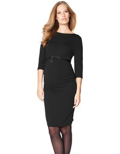 94784f93db0d1 Knee length ¾ length sleeves Boat neckline Ruching at the sides This black  maternity dress is