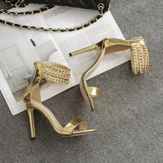 49d237a5cdb3 Stylish Ankle Strap High Heels Fashion Sandals In Silver And Gold on Luulla  Ankle Strap High