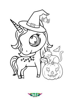 Unicorn Halloween Edition Coloring page For Kids