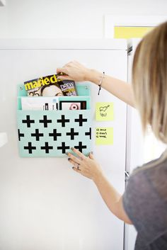 I love this Magnetized Mail Holder DIY, featuring the #MarthaStewartHomeOffice Double Pocket File via abeautifulmess.com