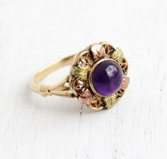 Vintage 10k Gold Art Deco Amethyst Cabochon Ring - Size 7 Puple Gem Hallmarked Ostbye and Anderson Filigree Rose & Green Gold Leaf Jewelry by Maejean Vintage on Etsy, $315.00