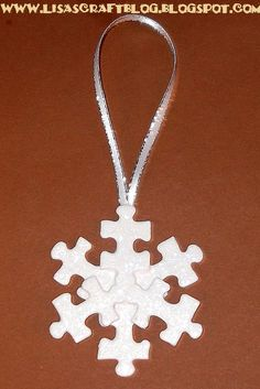 DIY puzzle piece snowflake ornament