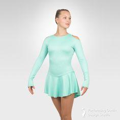 Jazzy figure skating long sleeve dress - Performing Outfit Design Studio Store Gymnastics Outfits, Gymnastics Leotards, Latin Ballroom Dresses, Ice Skating Dresses, Figure Skating, Dance Costumes, New Product, Skate, Cold Shoulder Dress