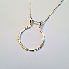 Ring Holder Necklace, Charm Holder Necklace, Hammered Open Circle, by Ali C Art, Unique Handmade Sterling Silver Jewelry