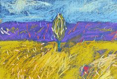 Original Soft Pastel Painting Tuscany Abstract by YellowRedAndBlue, $40.00