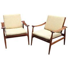 Pair of Finn Juhl Teak FD133 Spade Chairs