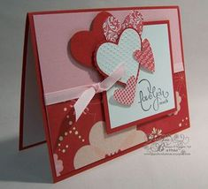 Layered hearts and patterned paper Valentine's card