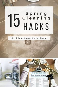 You won't want to miss these 15 spring cleaning hacks!  These spring cleaning tips and tricks will save you as you tackle your cleaning checklist this year!  #birkleylaneinteriors #springcleaning #cleaning #organize #hacks #cleaninghacks via @birkleylane