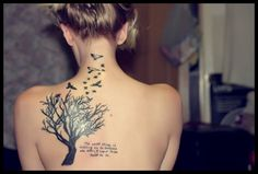 Tree & Birds Back Tattoo
