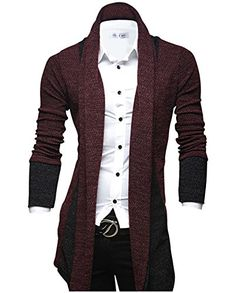 Tom's Ware Mens Classic Slim Fit Marled Zigzag Shawl Collar Cardigan