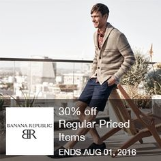 Banana Republic - 30% Off	  Starting 7/26: 30% off Regular-Priced Items Including New Arrivals. Use code at Banana Republic.   Brought to you by http://www.imin.com and http://www.imin.com/store-coupons/banana-republic