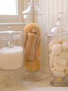 #CILserenity...decor for my dream bathroom Soap,bath salts and sponges in jars.